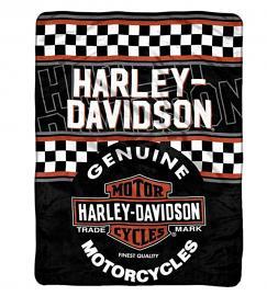 Harley-Davidson® Finish Line Fleece Throw Blanket   Checkered Flag   Long Bar & Shield® Graphics