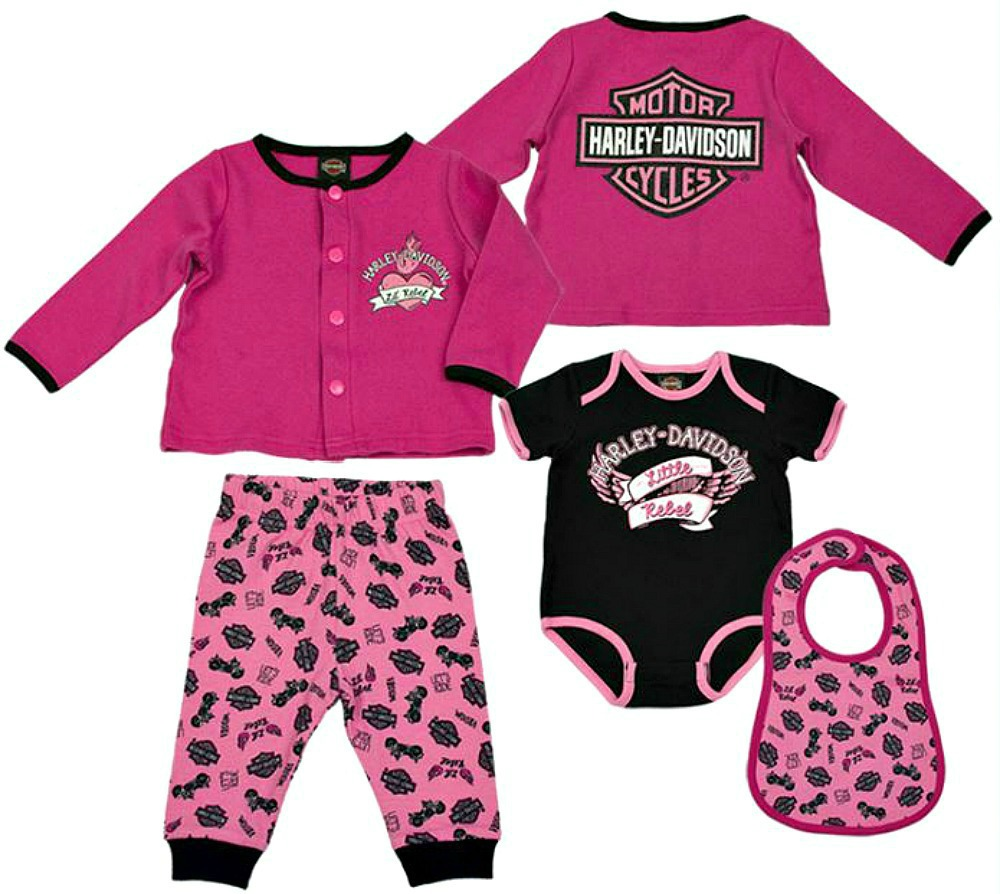 Harley-Davidson® Girls' 4 Piece Hanging Gift Set | 3 to 6 Month Size Only