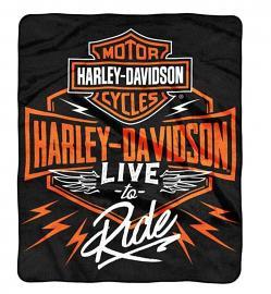 Harley-Davidson® Dedication Fleece Throw Blanket   Bar & Shield®   Live To Ride Graphics