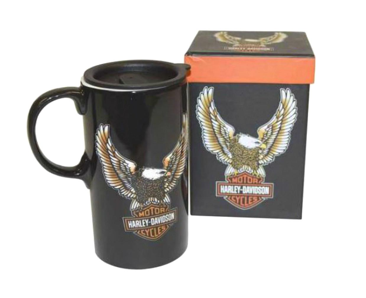 Harley-Davidson® Eagle Bar & Shield® Tall Boy Travel Mug   Ceramic   With Lid