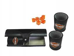 Harley-Davidson® Double Dice Cup Set | Six Orange Dice | Carrying Case