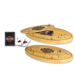 Harley-Davidson® Bar & Shield® Four-Track Cribbage Board | Oval Racetrack