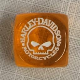 Harley-Davidson® Clear Orange Dice | Willie G® Skull | Sold Individually