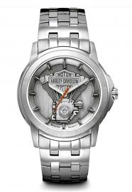 Harley-Davidson® Men's Bar & Shield® Stainless Steel Watch | V-Twin® Pewter Medallion Dial