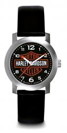 Harley-Davidson® Men's Bar & Shield® Stainless Steel Watch | Leather Strap