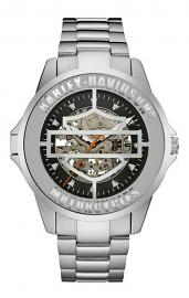 Harley-Davidson® Men's Bar & Shield® Hinged-Case Stainless Steel Mechanical Watch | Self Winding