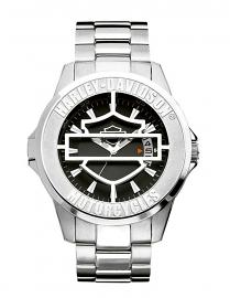Harley-Davidson® Men's Bar & Shield® Hinged-Case Stainless Steel Watch | Black Patterned Dial