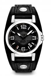 Harley-Davidson® Men's Bar & Shield® Stainless Steel Watch | Black Leather Cuff