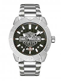 Harley-Davidson® Men's Bar & Shield® Stainless Steel Watch | Circular Grooved Bezel