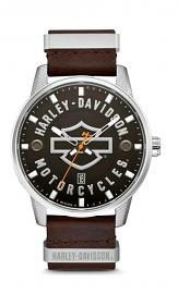 Harley-Davidson® Men's Bar & Shield® Watch | Brown Leather Strap