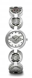 Harley-Davidson® Women's Coin Link Stainless Steel Watch | White Enamel Dial