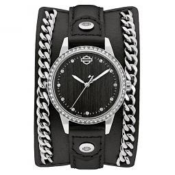 Harley-Davidson® Women's Leather Cuff Crystal Bezel Analog Watch