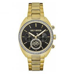 Harley-Davidson® Women's Light Gold-Tone Finish Crystal Bezel Chronograph Watch