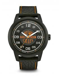 Harley-Davidson® Men's Black HDMC™ Logo Stainless Steel Watch | Buffalo Leather Strap