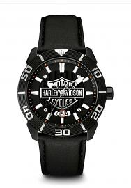 Harley-Davidson® Men's Bar & Shield® Stainless Steel Watch | Circular Grooved Bezel | Leather Strap