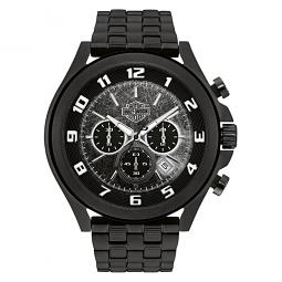 Harley-Davidson® Men's Bar & Shield Black Face Dimensional Link Chronograph Watch