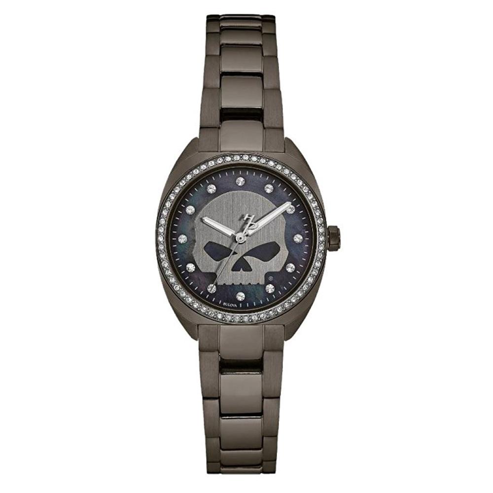 Harley-Davidson® Women's Gunmetal Finish Mother-of-Pearl Skull Crystal Bezel Watch