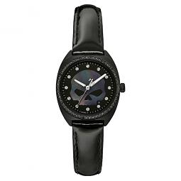Harley-Davidson® Women's Mother-of-Pearl Willie G® Skull Crystal Bezel Watch