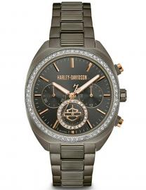 Harley-Davidson® Women's Gunmetal Finish Crystal Bezel Chronograph Watch