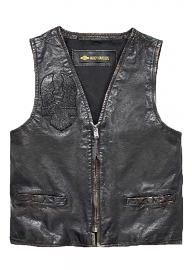 Harley-Davidson® Men's Iron Distressed Leather Vest | Slim Fit