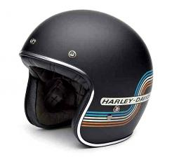 Harley-Davidson® Unisex Black Label Retro Tank Stripe 3/4 Helmet | Matte Black