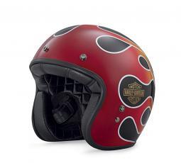Harley-Davidson® Unisex Retro Flame B01 3/4 Helmet | Low Profile Fit