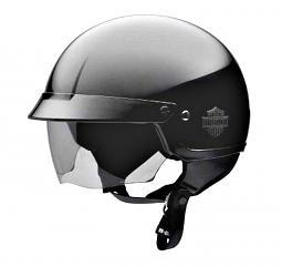 Harley-Davidson® Men's Half Helmet with Retractable Sun Shield Gloss Black