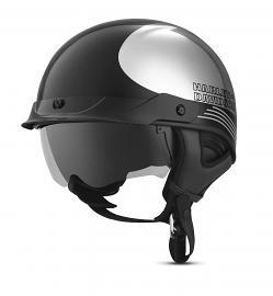 Harley-Davidson® Unisex Big Twin J03 Half Helmet   Removable Visor   Bonded Chrome Design