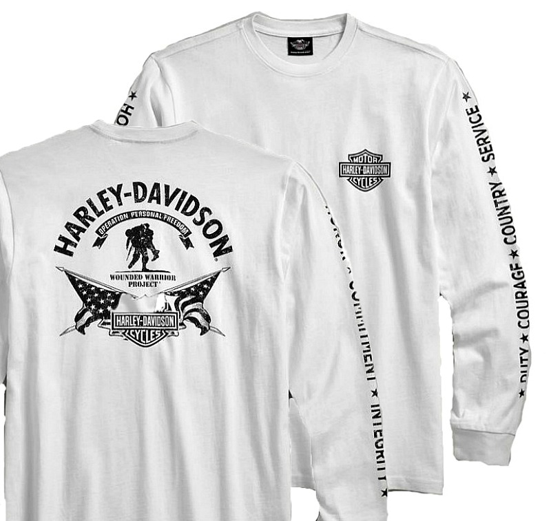 Harley-Davidson® Men's Wounded Warrior Project White Tee | Stars & Stripes | Long Sleeved