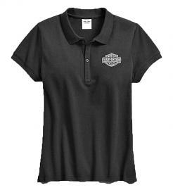 Harley-Davidson® Women's Bar & Shield® Logo Polo | Body-Tapered Silhouette | Short Sleeves | Black