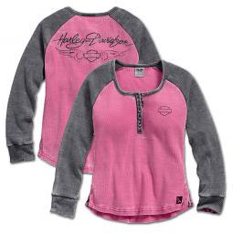 Harley-Davidson® Women's Pink Label Waffle Knit Henley