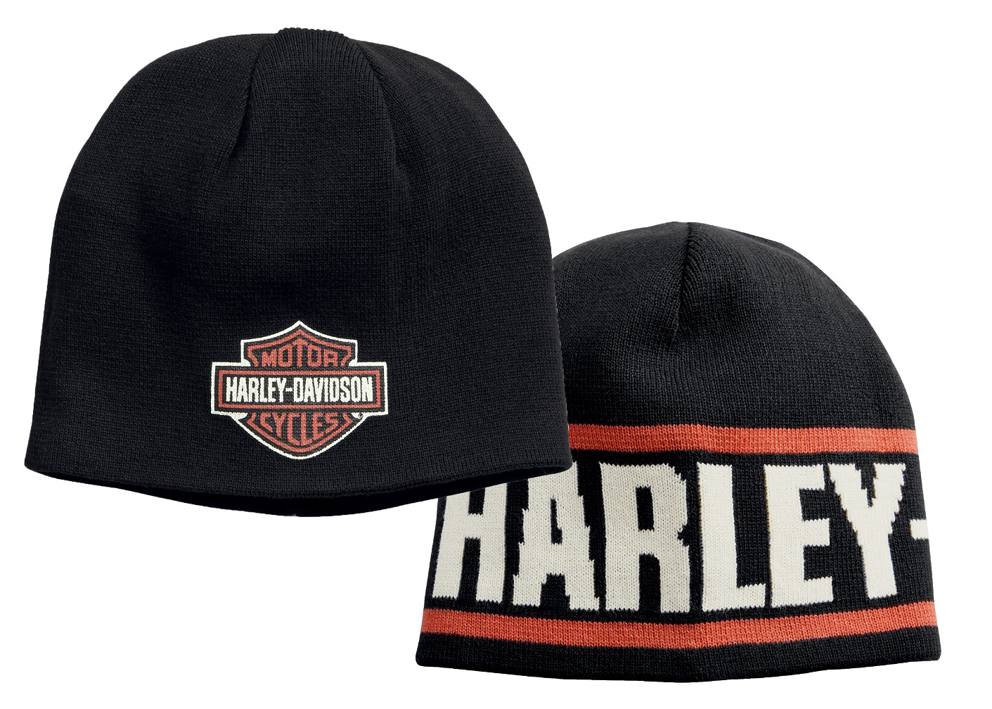 Harley-Davidson® Men's Reversible Knit Hat | Knit In Script | Printed Bar & Shield® Graphics