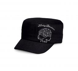 Harley-Davidson® Women's Black Crystal Skull Flat Top Cap