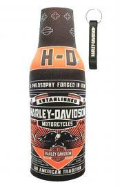 Harley-Davidson® Conquest Zippered Bottle Wrap Cooler | Neoprene | Koozie® | Includes Bottle Opener
