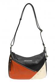 Harley-Davidson® Women's Diagonal Orange Colorblock Leather Shoulder Bag