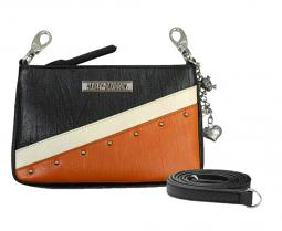 Harley-Davidson® Women's Diagonal Orange Colorblock Leather Hip Bag | Converts to Crossbody