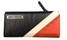 Harley-Davidson® Women's Diagonal Orange Colorblock Leather Bifold Clutch