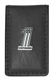 Harley-Davidson® Men's #1 Medallion Money Clip | Black Leather | Magnetic Close