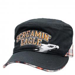 Harley-Davidson® Women's Screamin' Eagle® Plaid Cadet Hat | Rhinestone Embellished