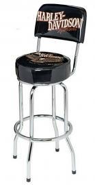 Harley-Davidson® Bar & Shield® Eagle Bar Stool With Backrest | Swivel Seat