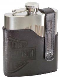 Harley-Davidson® Bar & Shield® Flask | Embossed Leather Case