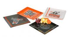 Harley-Davidson® Pit Stop Snack Plate Set | Four Ceramic Plates