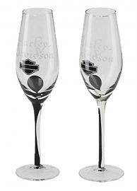 Harley-Davidson® Bar & Shield® Silhouette Champagne Flute Set | Set of Two