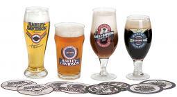 Harley-Davidson® Craft Beer Set | Four Glasses & Eight Coasters