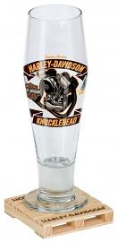 Harley-Davidson® Engine Series Pilsner Set | Knucklehead | Hand-Blown Glass & Custom Coaster