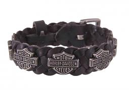 Harley-Davidson® Men's Bar & Shield® Leather Cuff | Repeated Medallions | Antique Nickel Finish