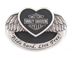 Harley-Davidson® Women's Angel Heart Belt Buckle | Polished Silver Tone