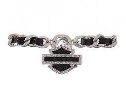 Harley-Davidson® Women's Charmed Cuff | Leather Detail | Crystal Embellished Bar & Shield®