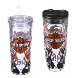 Harley-Davidson® Flaming Hot and Cold Acrylic Drinkware Set   Bar & Shield® Logo   Set of Two