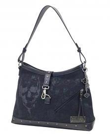 Harley-Davidson® Women's Black Skull Jacquard Bucket Handbag